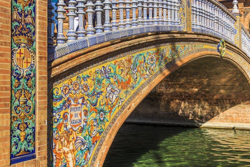 Ponte pequena intitulada cerâmica bonita da ponte de Aragon no quadrado da Espanha, Maria Luisa Park imagens de stock royalty free