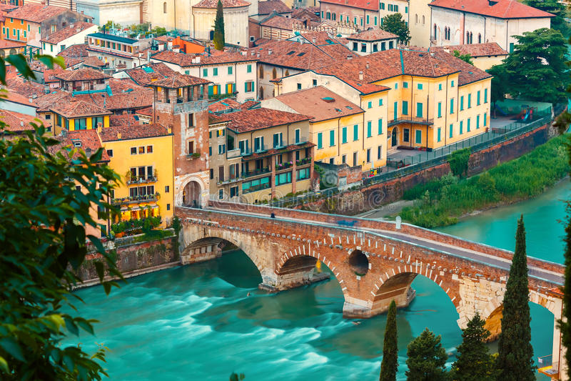 Ponte Pietra and Adige at night, Verona, Italy royalty free stock photos