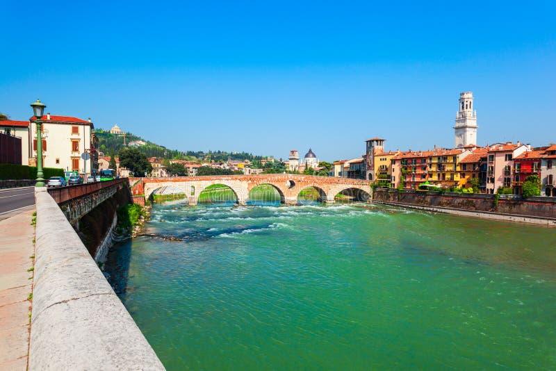 Ponte Pietra most w Verona zdjęcie royalty free