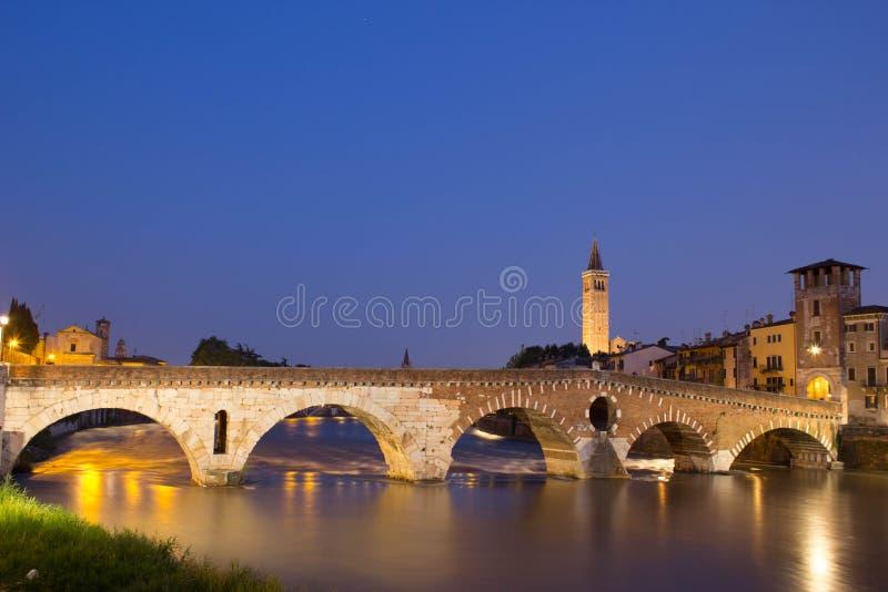 Ponte Pietra by Night stock images