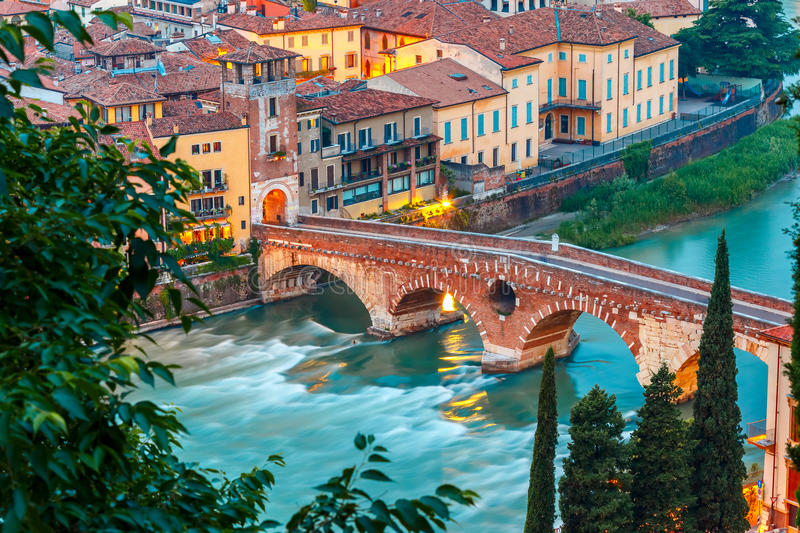 Ponte Pietra and river Adige, Verona, Italy stock image