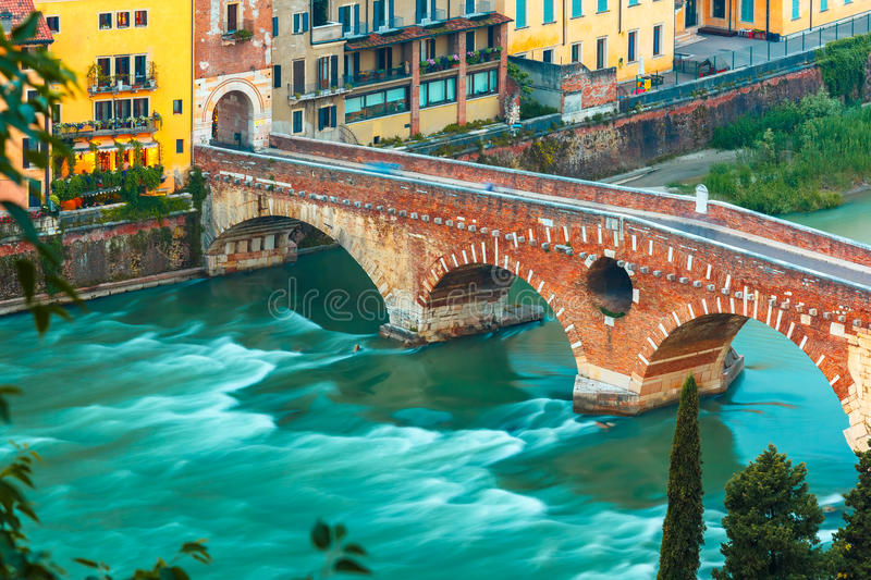 Ponte Pietra and river Adige, Verona, Italy stock photos