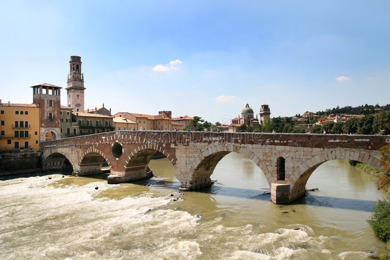 ponte pietra Verona widok obrazy stock