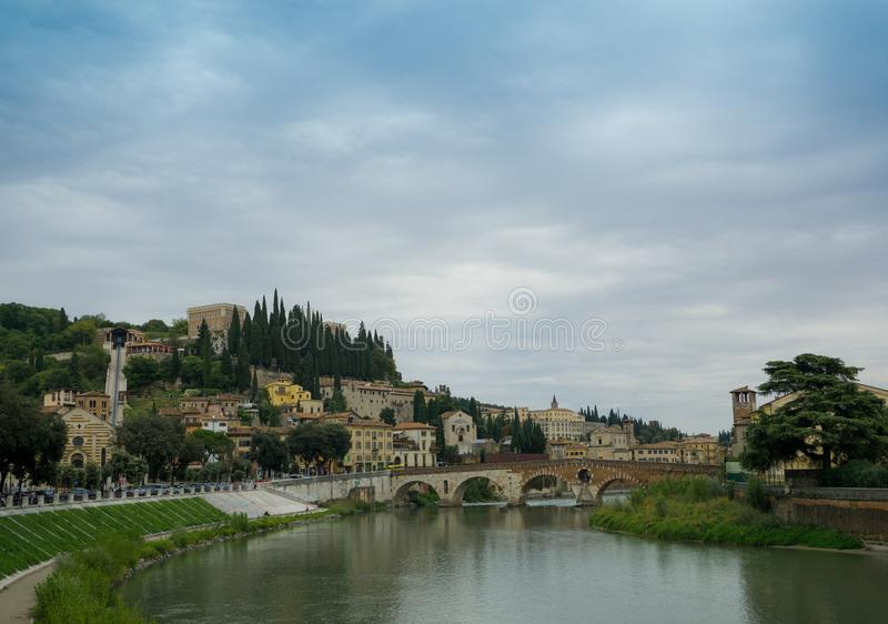 The Ponte Pietra - Veronas oldest bridge in the old town of Verona, Italy. Veronas stock image