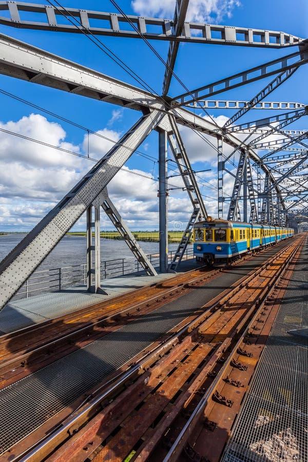 Ponte railway histórica em Tczew, Polônia fotografia de stock