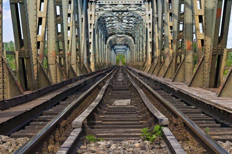 Ponte Railway sobre o olt do rio, Romania foto de stock