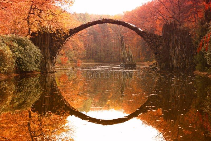 Ponte Rakotzbrucke, ponte di Rakotz del ` s del diavolo in Kromlau, Sassonia fotografia stock