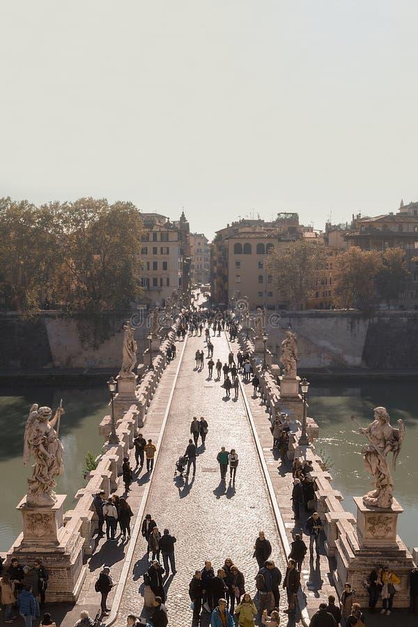 Ponte Roma Ponte Sant'Angelo do anjo imagem de stock