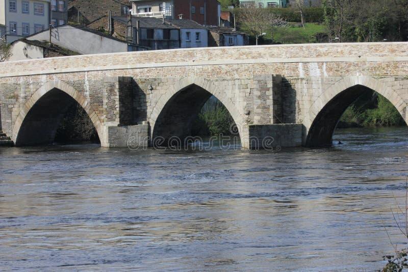 Ponte romano a Lugo Spagna fotografia stock libera da diritti