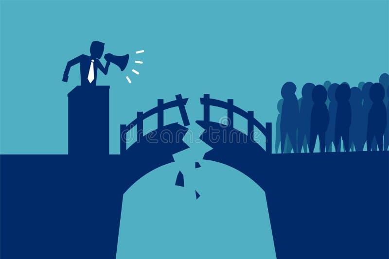 Ponte rotto fra il politico e la folla royalty illustrazione gratis