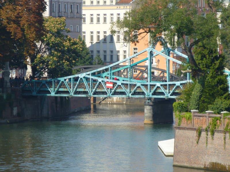 Ponte sabbioso sopra il Oder a Wroclaw immagine stock libera da diritti