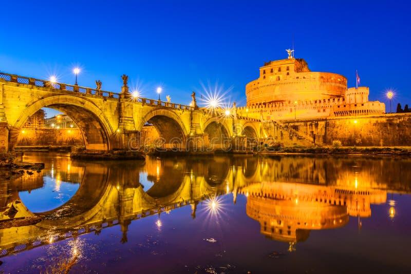 Ponte Sant`Angelo bridge crossing the river Tiber royalty free stock photography