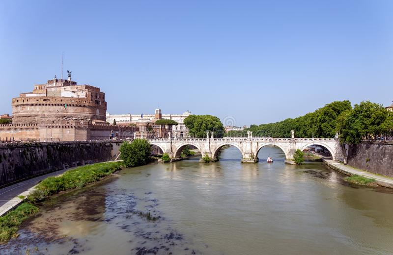 Ponte Sant`Angelo and Castel Sant`Angelo - Rome stock image
