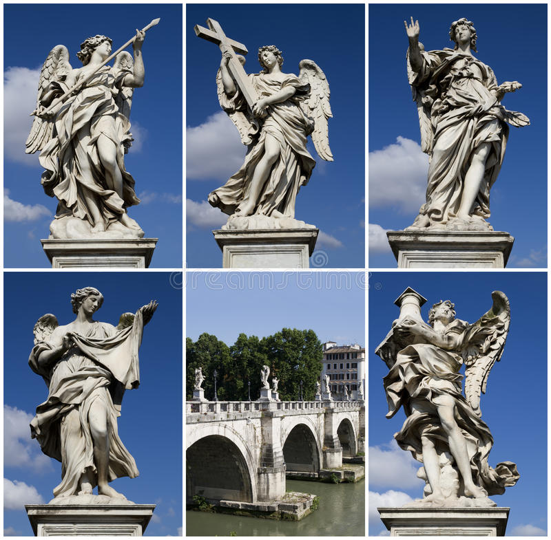 Ponte Sant Angelo, Roma, collage fotografia stock
