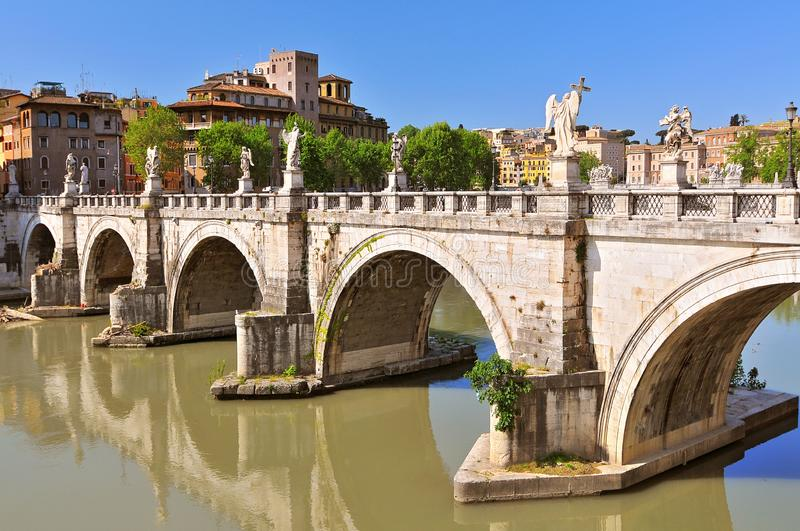 Ponte Sant Angelo spanning the Tiber between Castel Sant Angelo and the Centro Storico, Rome Italy.  royalty free stock photo