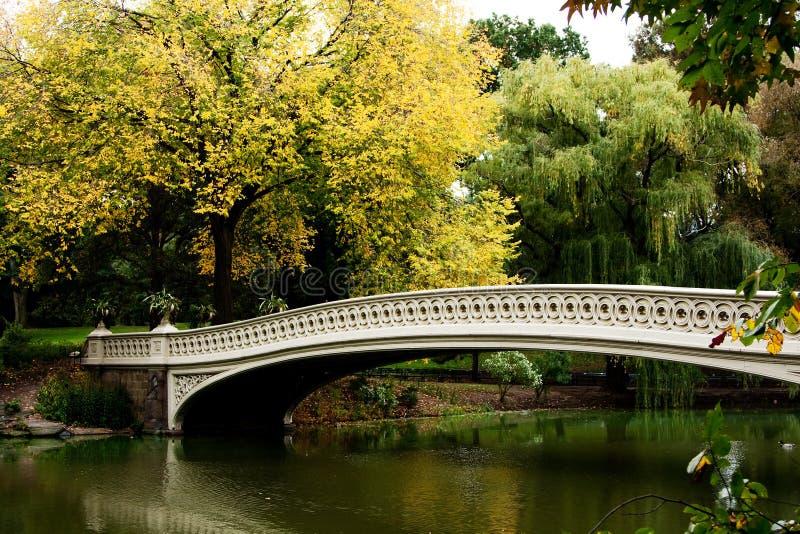 Ponte sobre o lago no cenário da queda foto de stock royalty free