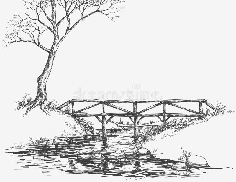 Ponte sobre o rio ilustração royalty free