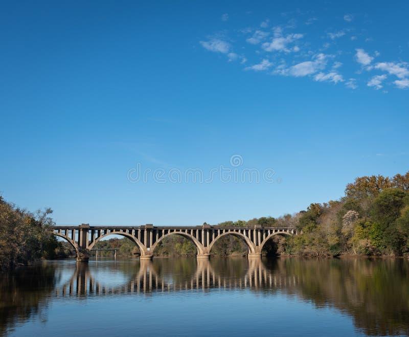 Ponte sopra il fiume con le riflessioni con lo spazio della copia immagini stock