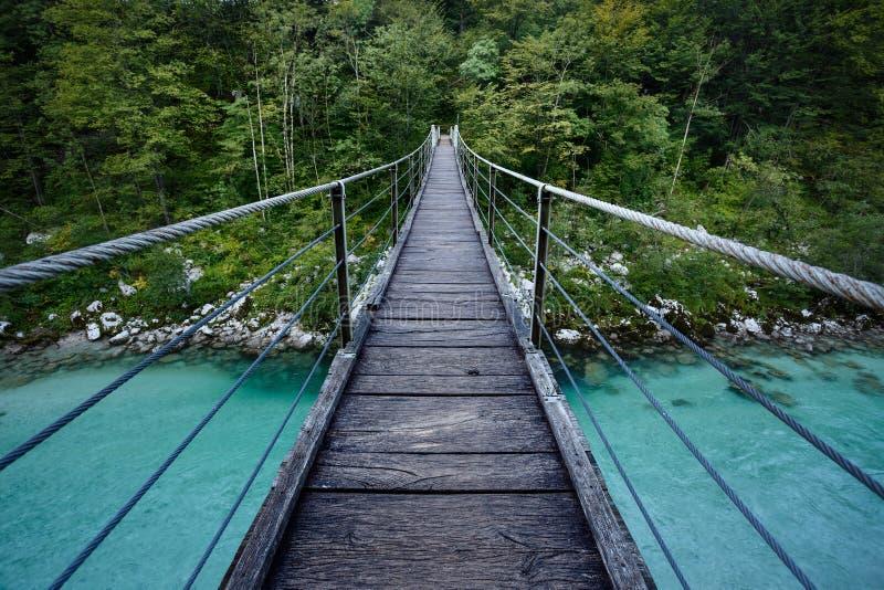Ponte sopra il fiume di Soca nel parco nazionale di Triglav, Slovenia fotografia stock