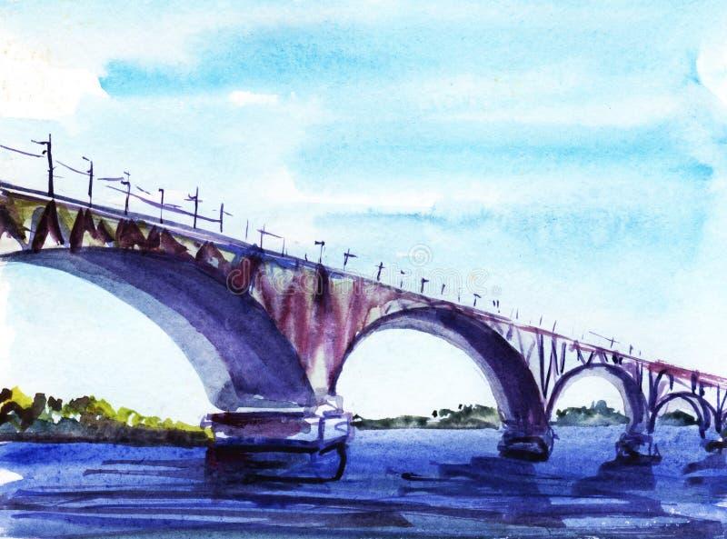Ponte sopra il fiume Schizzo dell'acquerello Fronte delle donne disegnate a mano di illustration royalty illustrazione gratis