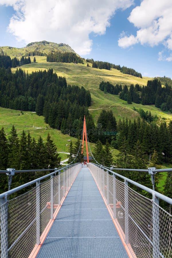 Ponte sospeso alpino di Golden Gate in valle di Saalbach-Hinterglemm, alpi, Austria fotografia stock