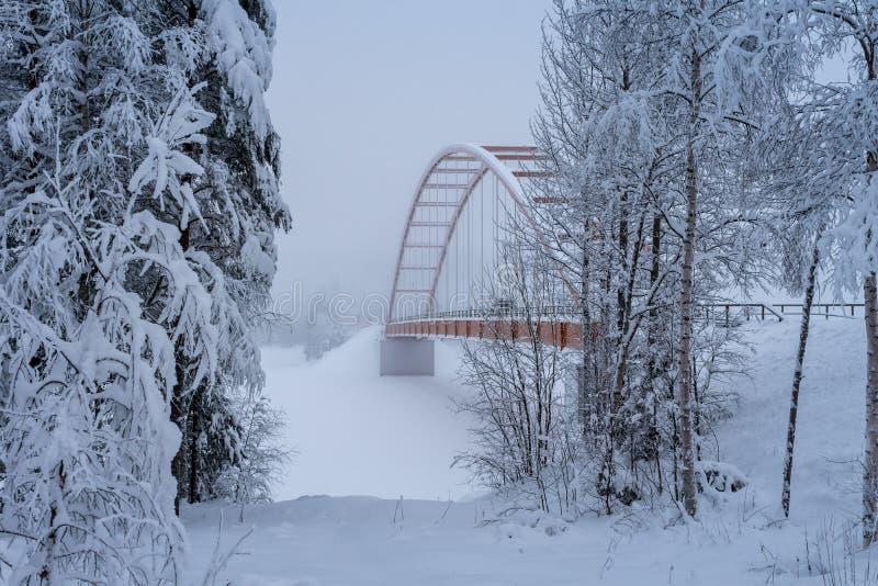 Ponte sospeso arancione che attraversa un fiume in Svezia del Nord immagine stock