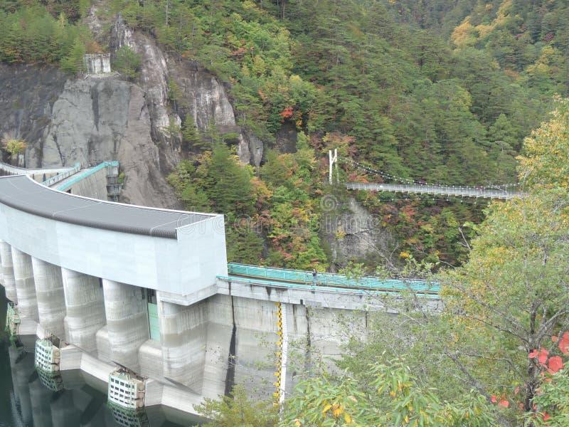 Ponte sospeso della diga e di Kawamata al canyon di Setoai-kyo nel Giappone fotografia stock libera da diritti