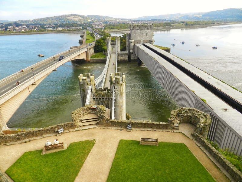 Ponte sospeso di Conwy Il Regno Unito fotografie stock libere da diritti