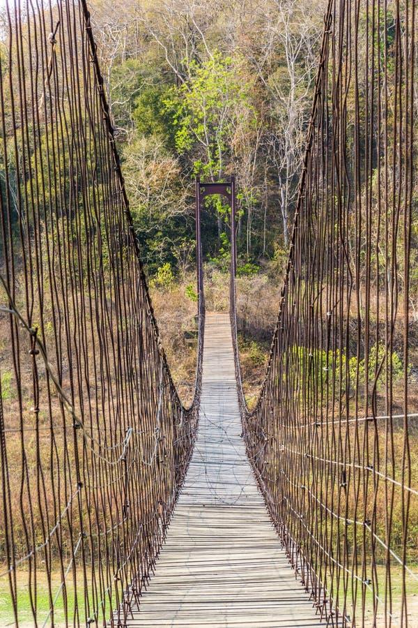 Ponte sospeso fatto di legno e dell'imbracatura fotografia stock libera da diritti