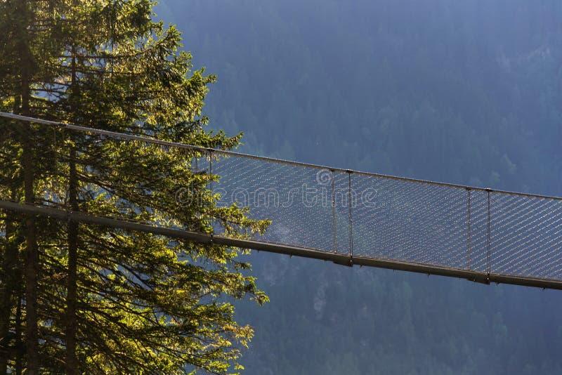 Ponte sospeso sulla traccia alpina attraverso la gola dell'inferno, Schladming, Austria immagini stock