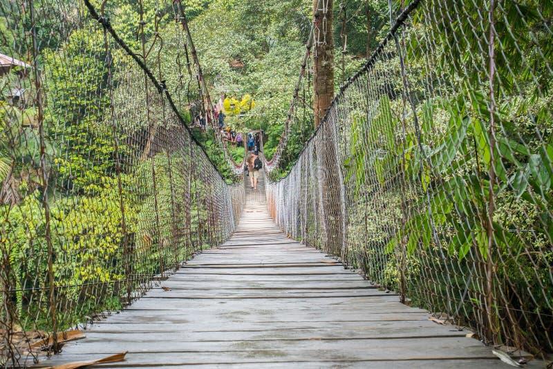 Ponte sospeso in Tangkahan, Indonesia immagini stock libere da diritti