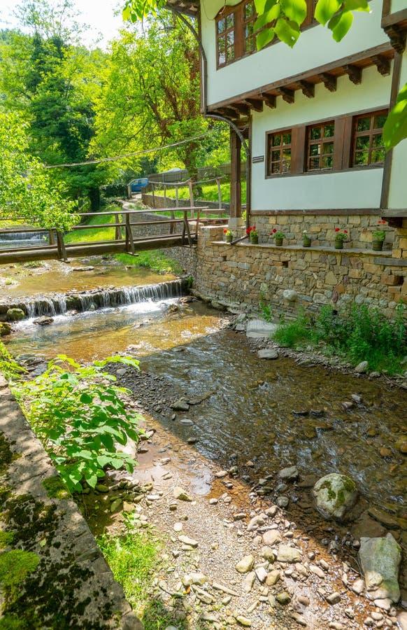 Ponte stretto all'entrata alla riserva naturale di Etera, Bulgaria fotografie stock