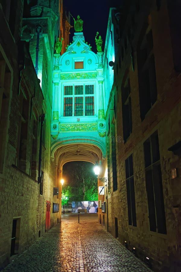 Ponte stretto incurvato in vicolo cieco dell'asino a Bruges immagini stock libere da diritti