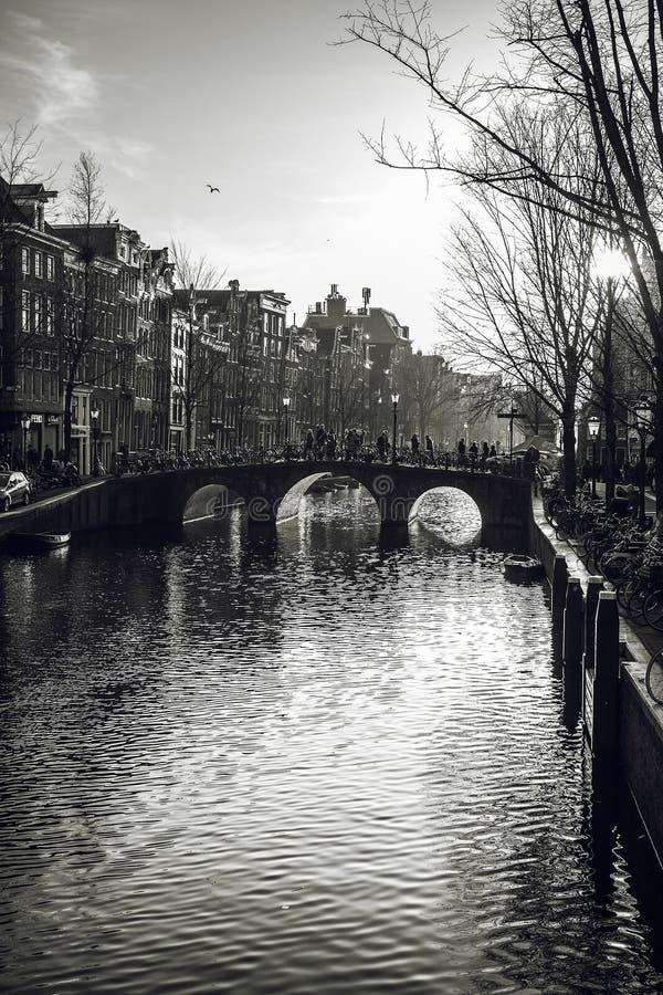 Ponte sul canale di fiume a gennaio Amsterdam - i Paesi Bassi immagini stock