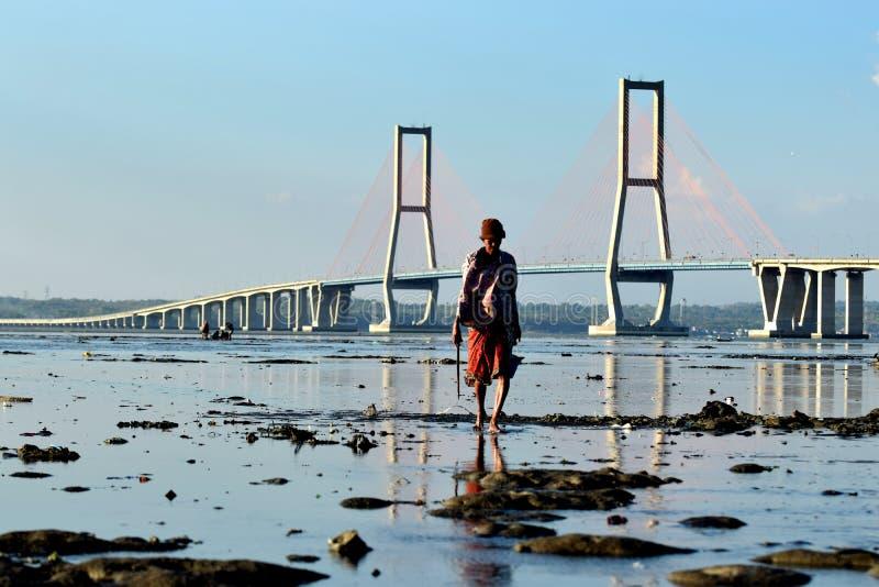 Ponte Surabaya Indonésia de Suramadu fotos de stock