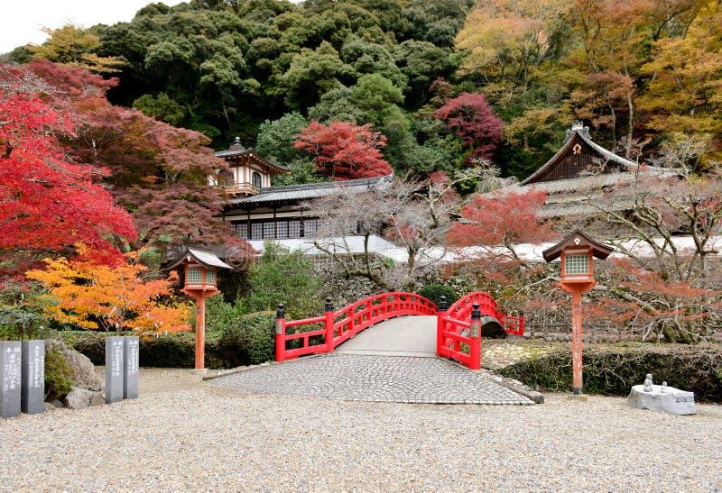 Ponte tradicional velha japonesa no parque Quase-nacional de Mino Osa imagem de stock