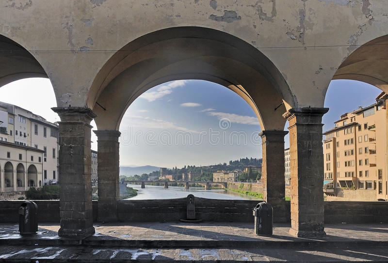 From Ponte Vecchio. View of the Arno river and Florence buildings fro the Ponte Vecchio (Old Bridge), Florence, Italy royalty free stock photos