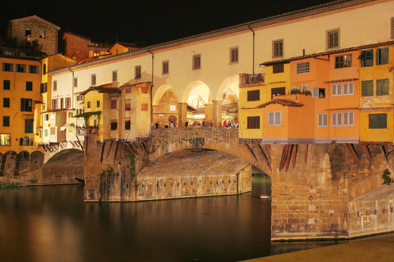 Ponte Vecchio. A view of Ponte Vecchio in Florence by night royalty free stock image