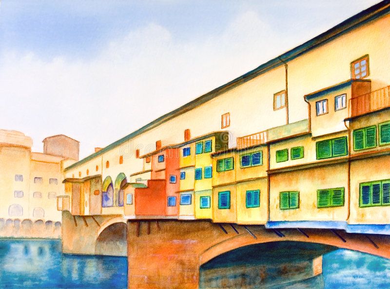 Ponte vecchio. (the old bridge) in Florence, Italy. Hand painted illustration stock illustration