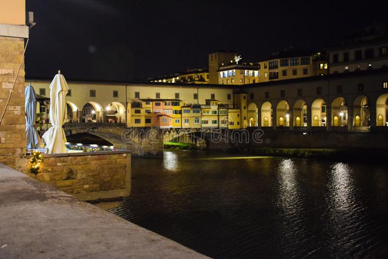 Ponte Vecchio and Arno River in Florence stock photography