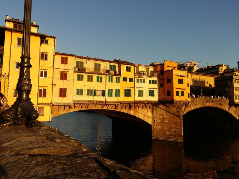Ponte Vecchio bei Sonnenuntergang, Florence Firenze, Italien stockfotografie