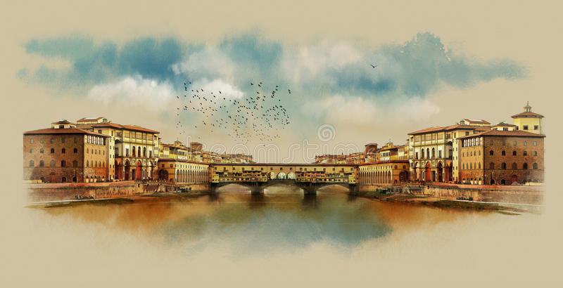 The Ponte Vecchio bridge in Florence. Italy. Watercolor sketch. Wacom tablet, mixed media, watercolor, style stock photo