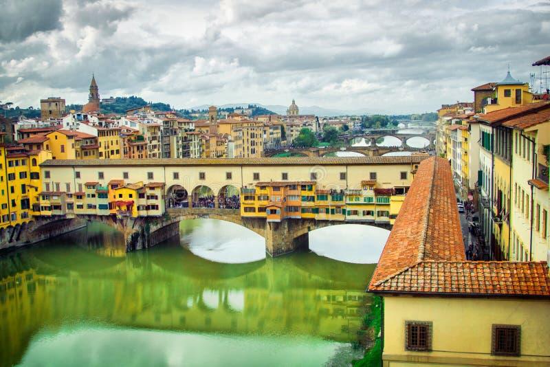 Ponte Vecchio bridge in Florence. Picturesque panorama of Ponte Vecchio in Florence stock photo
