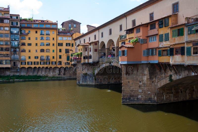Ponte Vecchio bridge over Arno river. Ponte Vecchio - the most famous bridge in Florence, Italy over Arno river royalty free stock photos