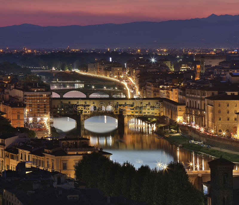 Ponte Vecchio - Florence at night stock image