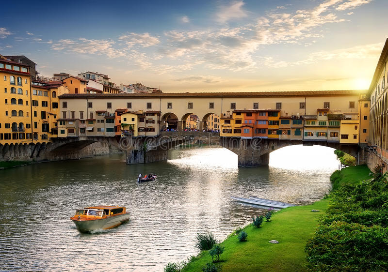 Ponte Vecchio in Florence. At sunset, Italy royalty free stock photography