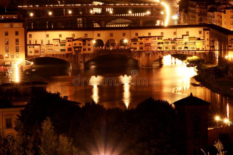 Ponte Vecchio at night stock photo