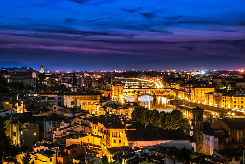 Ponte Vecchio night view over Arno river, Florence royalty free stock image