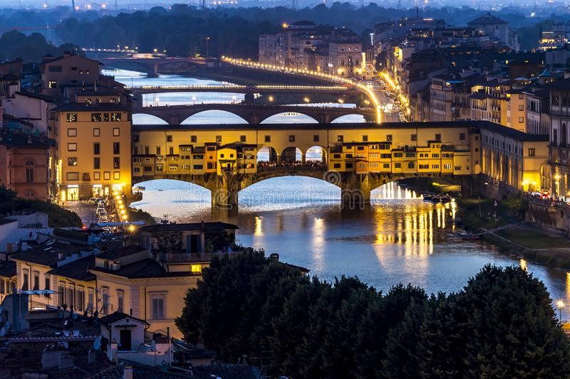 The Ponte Vecchio. The night view of the Ponte Vecchio & x28;Old Bridge of Florence& x29; in Florence of Italy royalty free stock images