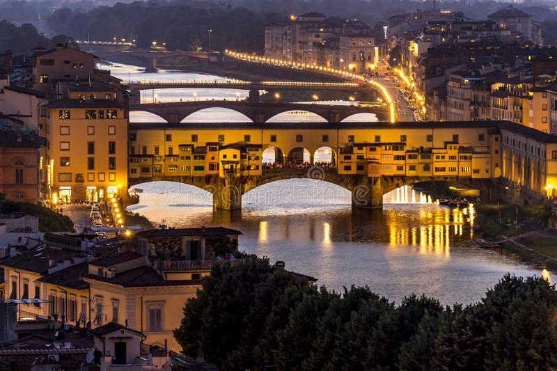The Ponte Vecchio. The night view of the Ponte Vecchio & x28;Old Bridge of Florence& x29; in Florence of Italy stock photos